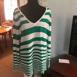 Lane Bryant Green & White Striped V-Neck Sweater